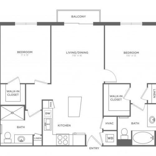2 Bedroom Floor Plan | Miami Apartments In Brickell | SOMA at Brickell