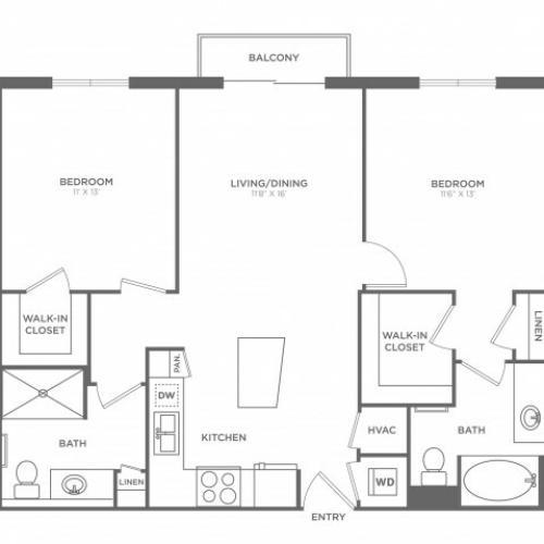 2 Bedroom Floor Plan | Miami Apartments In Brickell | SOMA at Brickell
