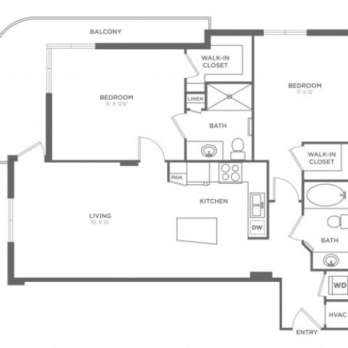 2 Bdrm Floor Plan | Brickell Miami Apartments For Rent | SOMA at Brickell