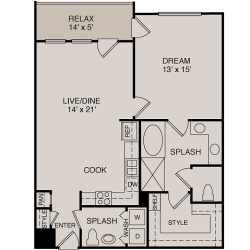 A3/A4 1-1 | 1 bed 2 bath | from 879 square feet