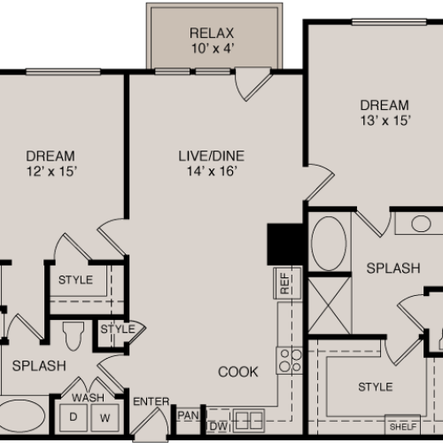 B3 2-2 | 2 bed 2 bath | from 1266 square feet