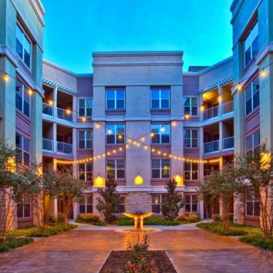 Property courtyard at night