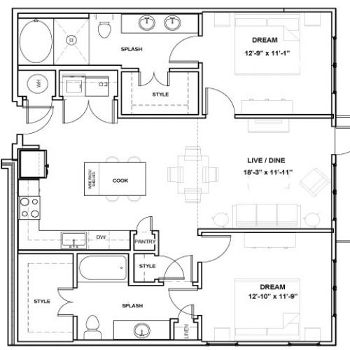 CityPlace Podium | 2 bed 2 bath | from 1125 square feet