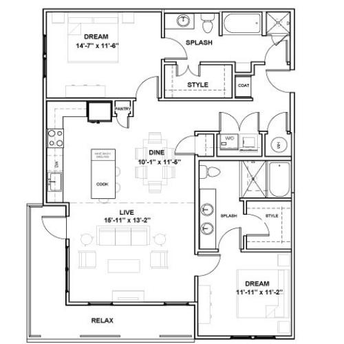 West End Podium | 2 bed 2 bath | from 1252 square feet