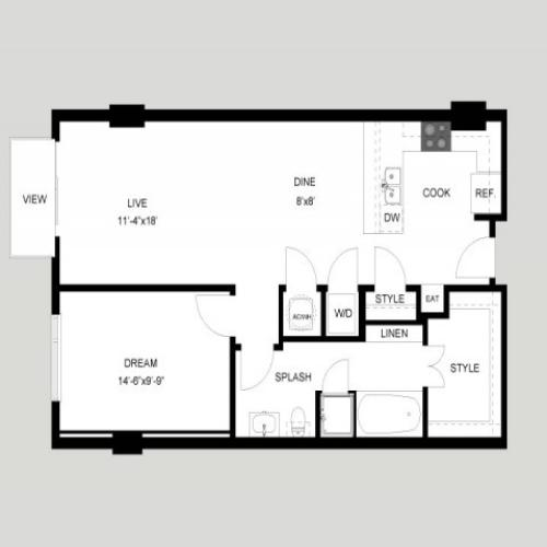 The Enfield | 1 bed 1 bath | from 874 square feet