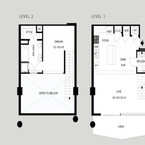 The Lady Bird - Loft | 1 bed 2 bath | from 963 square feet