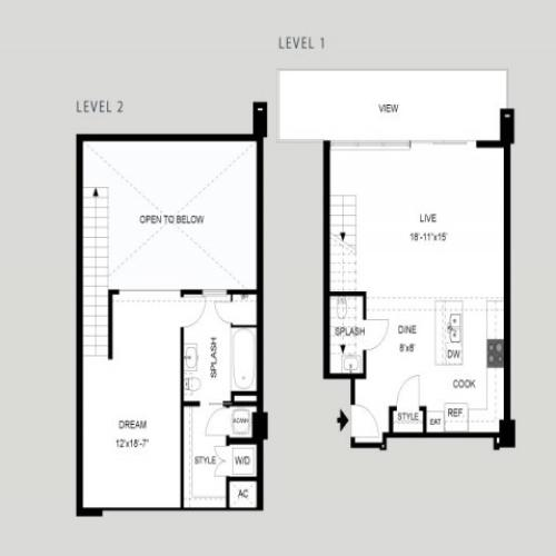 The Tower - Loft | 1 bed 2 bath | from 1061 square feet