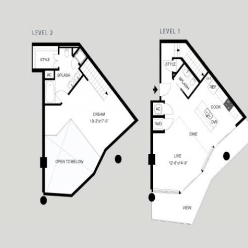 The Shores - Loft | 1 bed 2 bath | from 1074 square feet