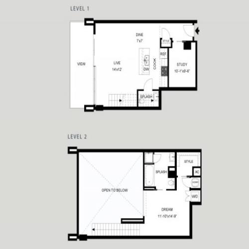 The Rio - Loft | 1 bed 2 bath | from 1107 square feet
