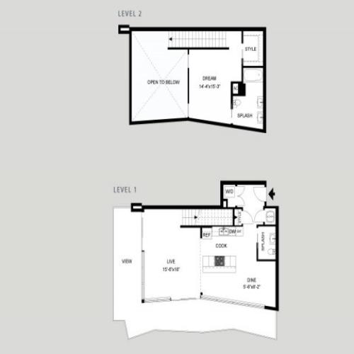 The Zilker - Loft | 1 bed 2 bath | from 1193 square feet