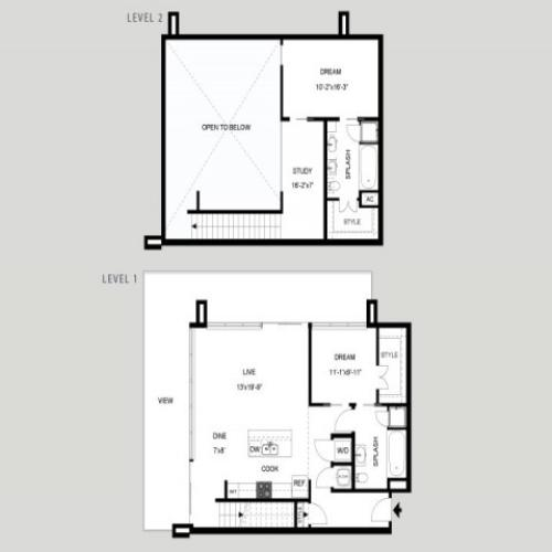 The Castle Hill - Loft | 2 bed 2 bath | from 1439 square feet