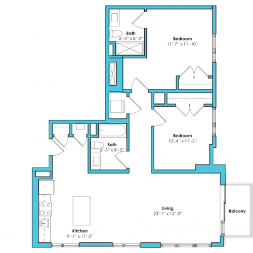 o-2f | 2 bed 2 bath | from 1035 square feet