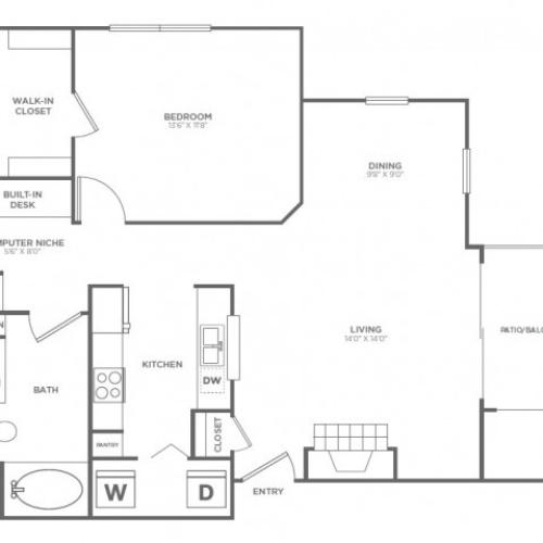 A3 | 1 bed 1 bath | from 850 square feet