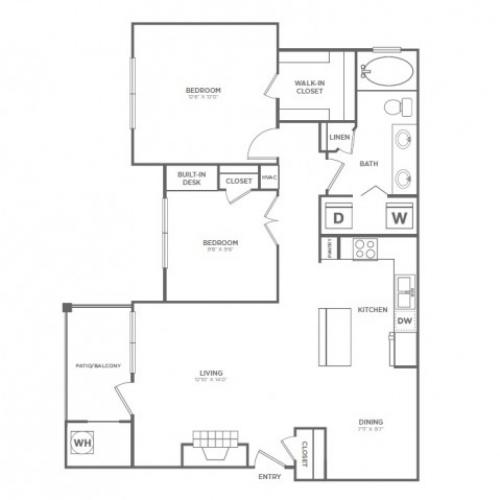 B1 | 2 bed 1 bath | from 954 square feet
