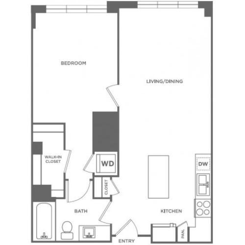 A2 | 1 bed 1 bath | from 762 square feet