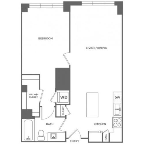 A3 | 1 bed 1 bath | from 782 square feet