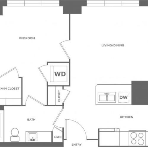 A13 | 1 bed 1 bath | from 568 square feet