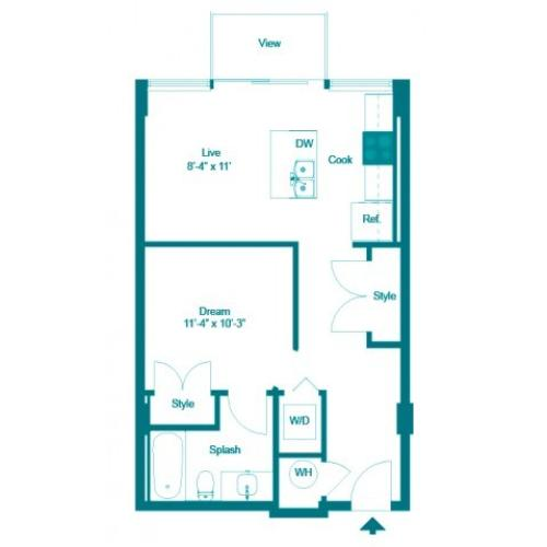 Iris | Studio1 bath | from 580 square feet