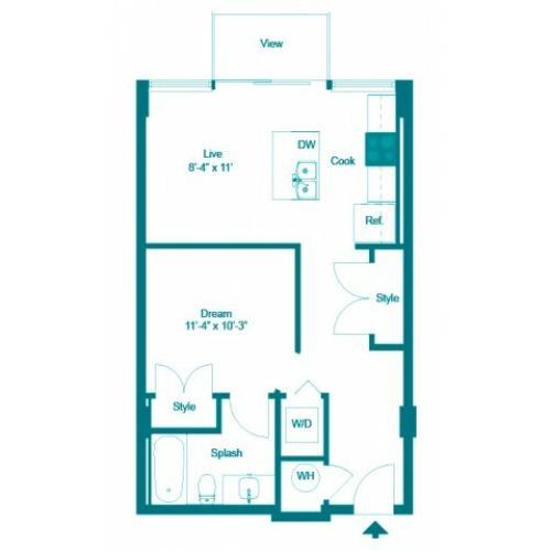 Iris | Studio1 bath | from 580 square feet