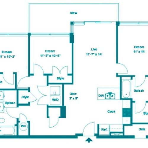 Powder PH | 3 bed 2 bath | from 1357 square feet