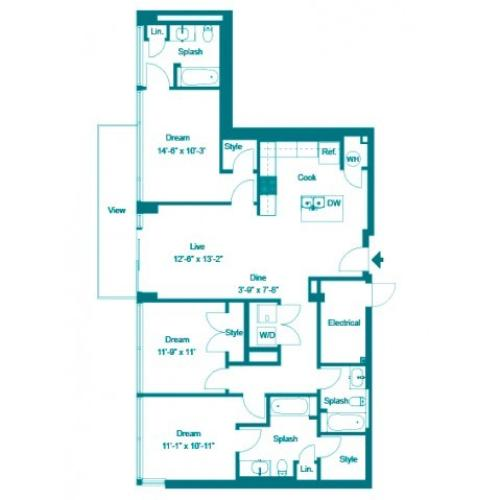 Maya | 3 bed 3 bath | from 1446 square feet