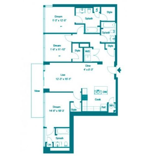 Persian | 3 bed 3 bath | from 1523 square feet