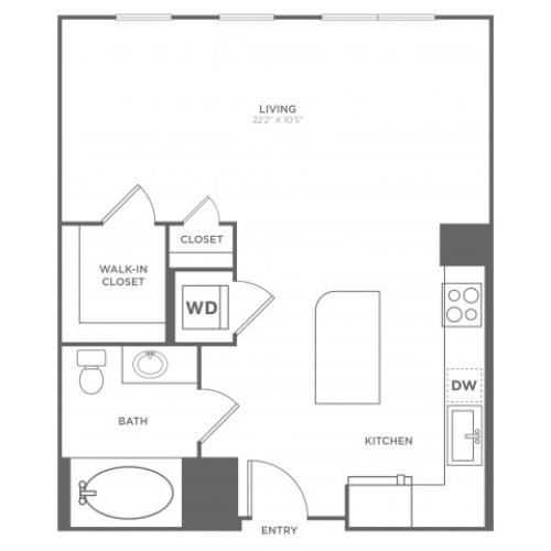 Studio S1 | Studio1 bath | from 632 square feet