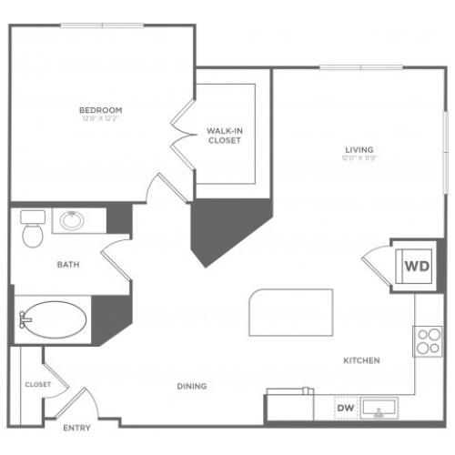 A2 | 1 bed 1 bath | from 873 square feet