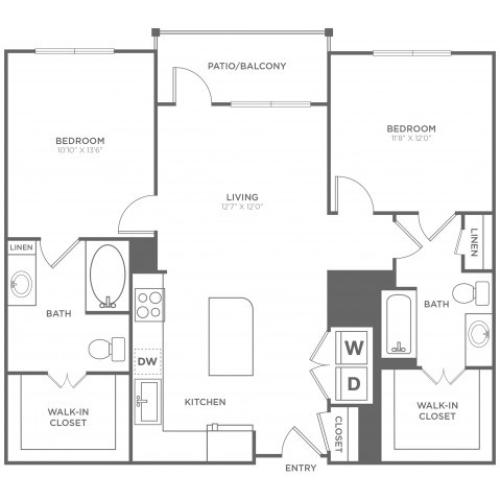 B6   2 bed 2 bath   from 1118 square feet
