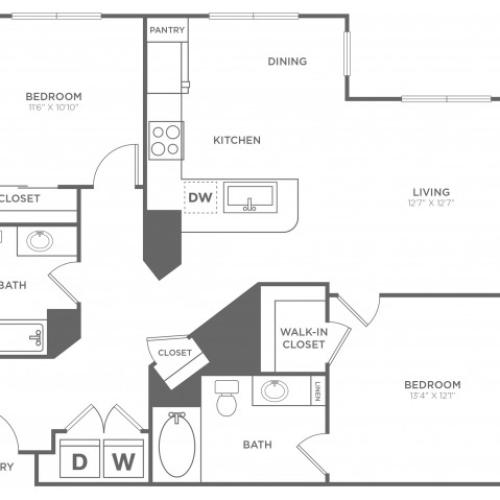 B4 | 2 bed 2 bath | from 1137 square feet
