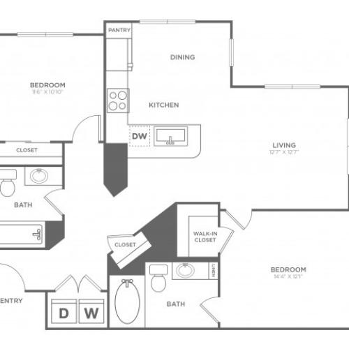 B3   2 bed 2 bath   from 1159 square feet