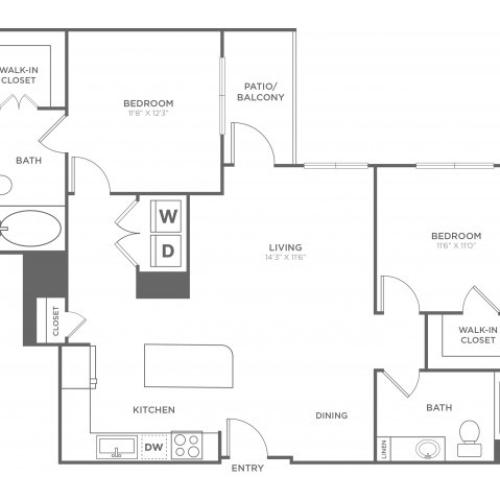B2 | 2 bed 2 bath | from 1163 square feet
