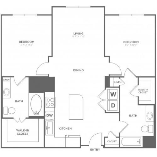 B1 | 2 bed 2 bath | from 1193 square feet