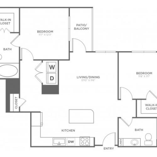 B2A | 2 bed 2 bath | from 1109 square feet