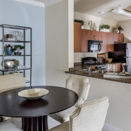 Kitchen and dining area in classic home