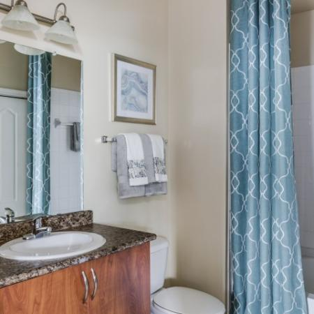 Granite vanity in bathroom in classic home