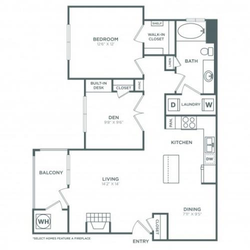 A3 | 1 bed 1 bath | from 954 square feet