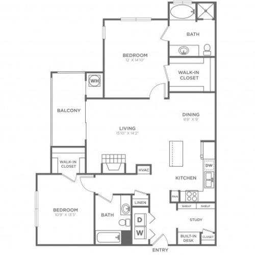 B4 | 2 bed 2 bath | from 1234 square feet
