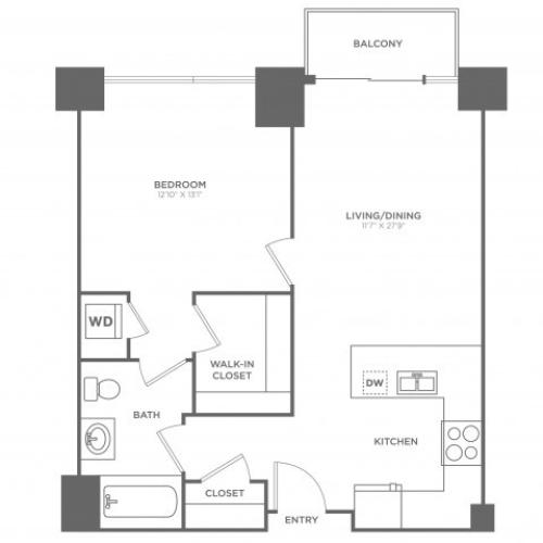 1A Nobel | 1 bed 1 bath | from 741 square feet