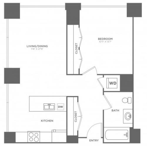 1B Curie | 1 bed 1 bath | from 785 square feet