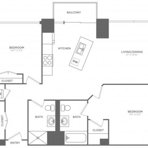 2E Darwin | 2 bed 2 bath | from 1144 square feet