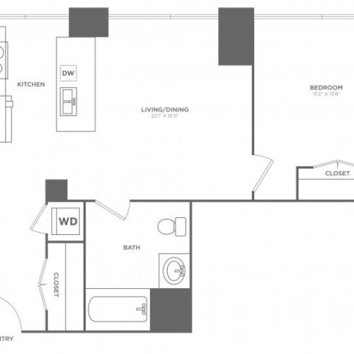 1JJ Page | 1 bed 1 bath | from 833 square feet