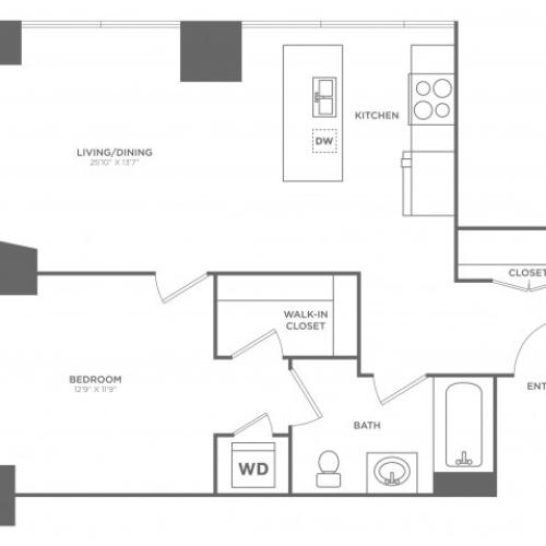1H Brin | 1 bed 1 bath | from 782 square feet
