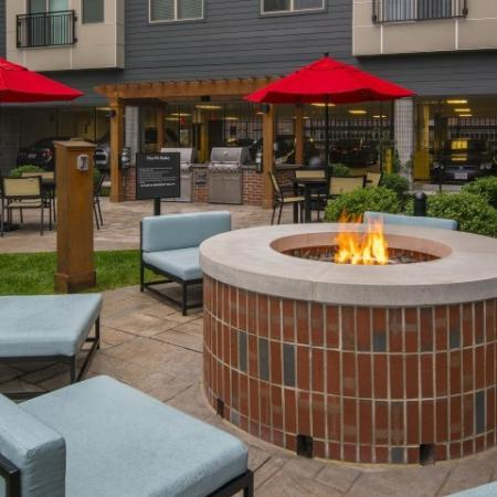 Fire pit in courtyard
