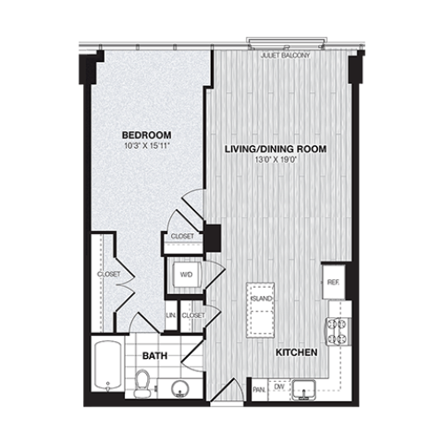 A2 | 1 bed 1 bath | from 765 square feet