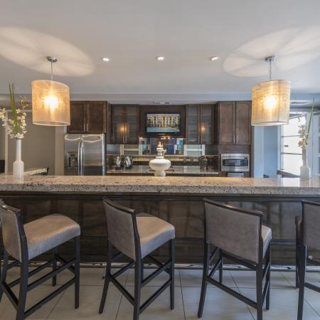 expansive kitchen in clubhouse lounge