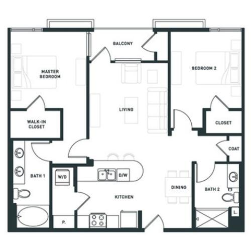 B3 | 2 bed 2 bath | from 1064 square feet