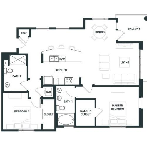 B10 | 2 bed 2 bath | from 1244 square feet