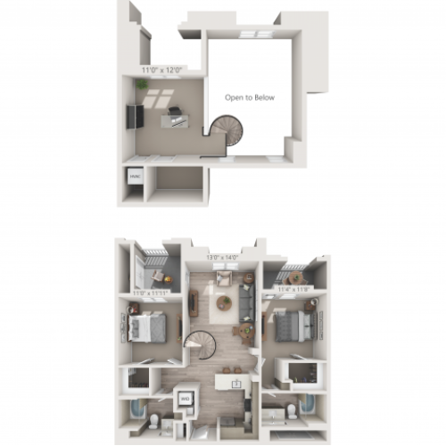 B2M | 2 bed 2 bath | from 1158 square feet