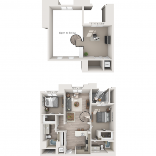 B3M | 2 bed 2 bath | from 1292 square feet